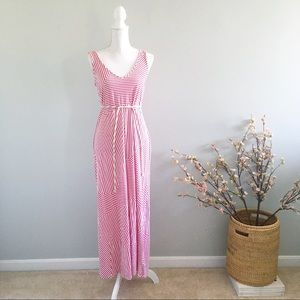 Motherhood Maternity Pink Striped Maxi Dress